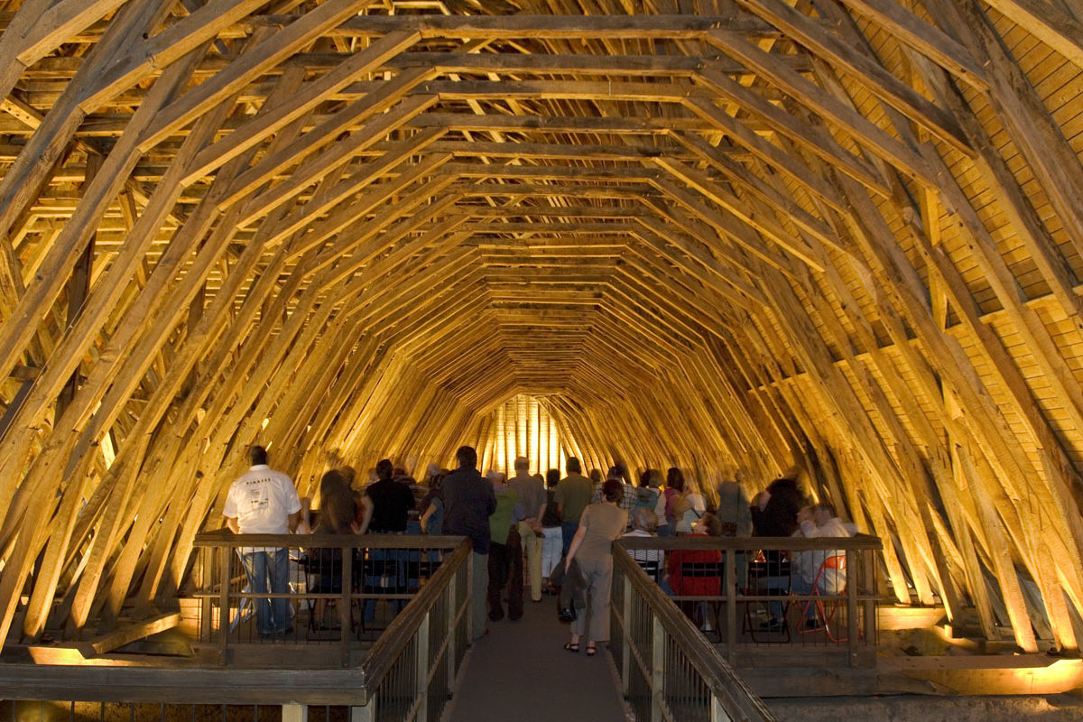 The timber roof of the church of St Girons in Monein