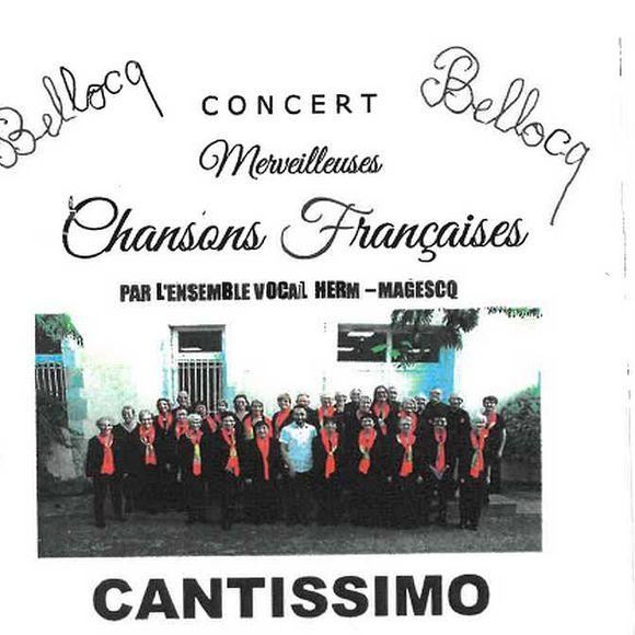 Concert : Cantissimo - Merveilleuses chansons françaises - BELLOCQ