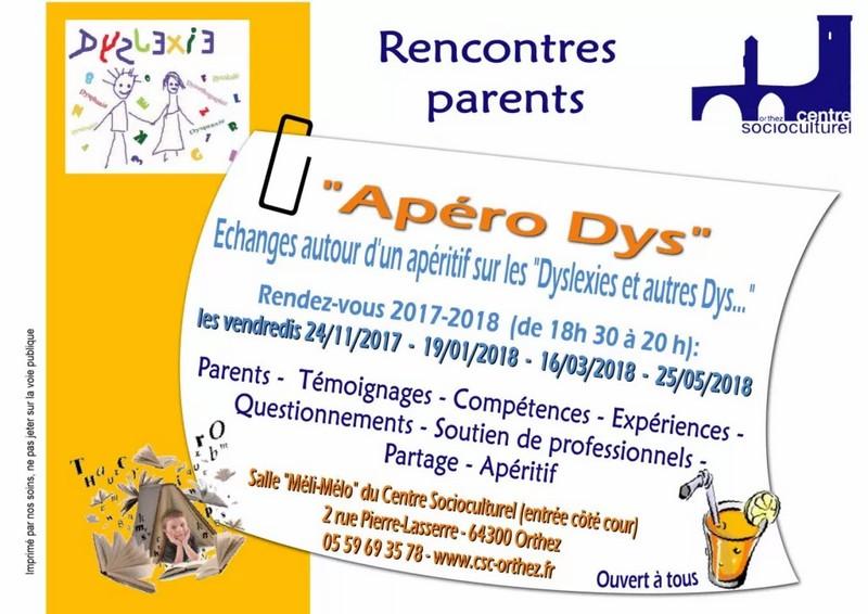 Apéro Dys : échanges autour d'un apéritif sur les Dyslexies et autres Dys...  - Copie - ORTHEZ