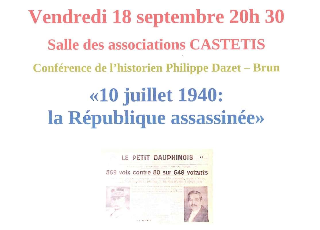 Conférence : 10 juillet 1940 - La République assassinée - CASTETIS