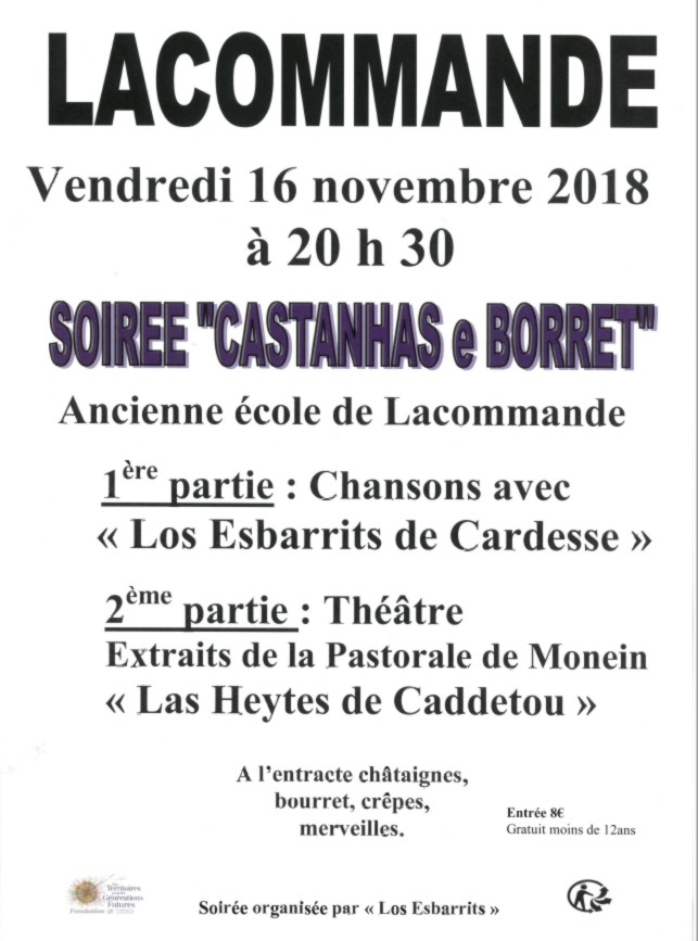 Soirée Castanhas e Borret - LACOMMANDE